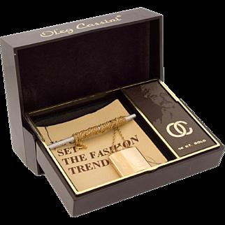 Vintage Oleg Cassini 14k Gold Perfume Flacon Bottle Necklace Pendant