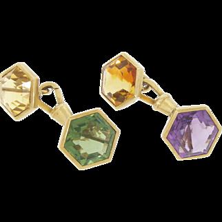 Vintage Victorian 14k Yellow Gold Hexagon Gemstone Chain Cufflinks