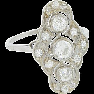 Art Deco Platinum and Diamond Ring 1.3ct Filagree Cluster