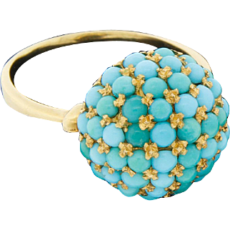 Vintage 18k 750 Gold Persian Turquoise Dome Ring Size 10.50