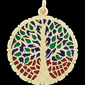 Vintage 14k Gold Plique A Jour Pendant For Necklace Tree Of Life - Rare Design