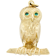 Vintage 14k Gold & Emerald Owl Bird On A Branch Pendant For Necklace Or Large Charm Classy