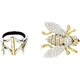 Amazing Vintage 14k Gold Diamond Honey Bee Bug Convertible Ring Brooch Large Cocktail Dinner Size 6.75  15.7Grams