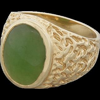 Vintage 14k Gold Jade Nugget Ring Men's Size 10.25 1961 Signed