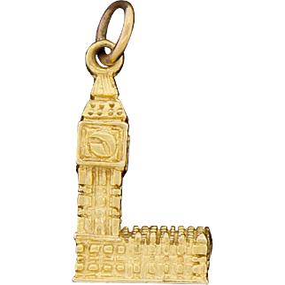 Vintage English 9K Gold Georg Jensen Enamel Big Ben Pendant Charm Signed GJ Ld