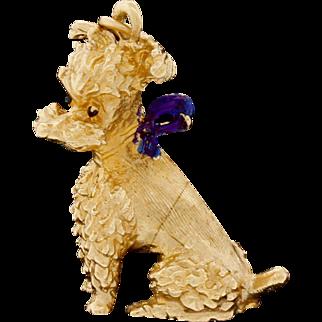 Vintage 14k Gold Dog Puppy Enamel Pendant For Necklace Or Charm Terrier Poodle 6.1G
