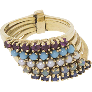 Vintage 14k Yellow Gold 5 Stack Eternity Ring Sapphire Opal Pearl Turquoise Amethyst Size 7 - 585