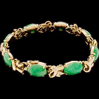 Vintage 14k Gold Asian Chinese Jade Bamboo Bracelet Designer Signed 22 Grams