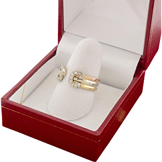Vintage Cartier 18k 750 Tri Gold Diamond Pinky Ring Size 5.5 AUTHENTIC - Logo Signature Series 1985