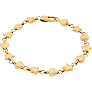 Authentic Tiffany & Co 18k 750 Yellow Gold Hearts Stars Bracelet Gorgeous!