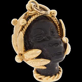 Vintage 18k 750 Gold Blackamoor African Nubian Princess Figural Pendant Charm 15G