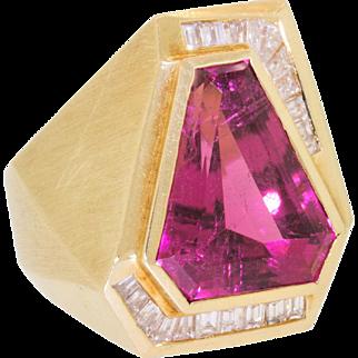 Huge Men's Vintage 18k 750 Gold Kite Pink Tourmaline Diamond Baguette Ring Size 7 22.4 Grams
