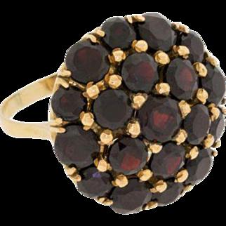 Fine 18k Yellow Gold Large Estate Vintage Pave Garnet Dome Dinner Ring Size 8.75