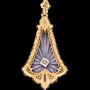 Vintage Art Deco 14k Yellow Gold Diamond Camphor Glass Pendant  Sorry No Necklace