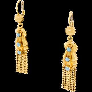 Vintage 18k 750 Gold Blue Turquoise Drop Dangle Tassel Earrings Pierced Estate