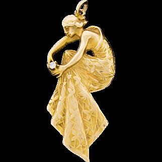 Gorgeous Vintage 14k Gold Diamond Vintage Estate Figural Lady Pendant Art Nouveau Style