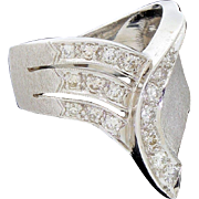 Vintage Abstract Modernist 14k White Gold and Diamond Ring