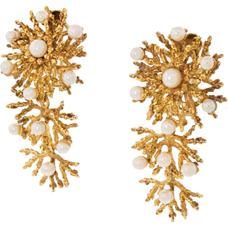 Beautiful Vintage 18k Gold 750 Articulated Sea Coral Pearl Drop Dangle Earrings Heavy 28.9G
