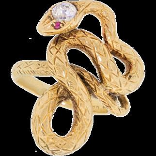 Stunning Vintage Victorian  18k Gold Mine Cut Diamond Ruby Snake Serpent Ring 750 Size 5.75