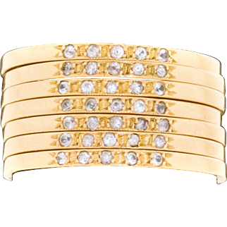 Vintage 18k Yellow Gold Diamond 7 Stack Stackable Ring Estate Size 6.75 -7 - Wide Band  9.3 Grams