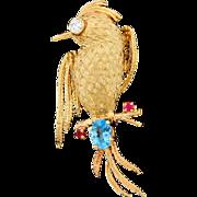Vintage 14k Gold Diamond Ruby Blue Topaz Bird Pin Brooch Estate 9.6G