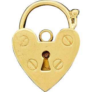 Vintage 9k 9ct Gold XL Padlock Charm Bracelet Closure Clasp Large Heavy 9.25 Grams