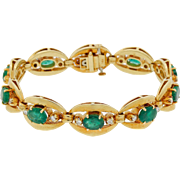 Vintage 14k Gold Natural Emerald and Diamond Evil Eye Bracelet Heavy 33g High Quality