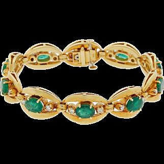 Vintage 14k Gold Natural Emerald and Diamond Evil Eye Bracelet Heavy 33g High Quality