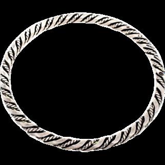 Early Georg Jensen Sterling Silver 925 17B Rope Cable Twist Bangle Bracelet GI Mark 1910-1925