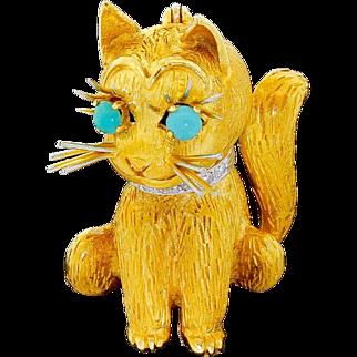 Vintage 18k Gold Diamond Turquoise Kitty Cat Pin Brooch 1962 Ben Rosenfeld London