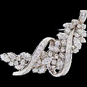 Magnificent Vintage Spritzer + Fuhrmann 18k White Gold 64 Diamond Spray Pin Brooch 3TCW