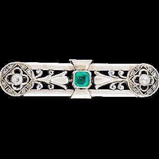 Vtg Art Deco 15k 15ct White Gold Emerald Mine Diamond Pin Pendant Brooch