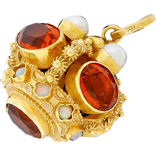 Gorgeous Vintage 18k 750 Gold Pearl Citrine Opal Fob Charm Etruscan Large 17G