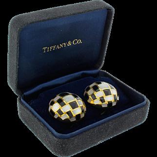 Tiffany & Co 18k 750 Gold Angela Cummings Checkerboard Button Earrings 24.1G