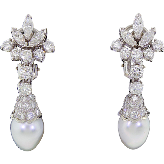 Finest Quality Platinum Diamond White Gold South Sea Pearl Drop Earrings 4TCW