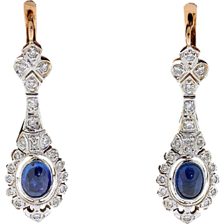 Vintage Edwardian Style 14k Gold, Diamond, and Sapphire Cabochon Drop Earrings