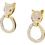 Vintage Estate 14k Gold Diamond Encrusted Ruby Panther Leopard Big Cat Earrings Pierced Ears 1.25TCW