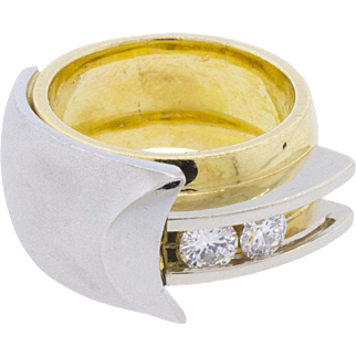 Bretterbauer Moving Diamonds 18k 750 Platinum 950 Ring sz 5.75 - 6 Wide