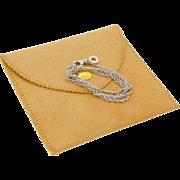 Authentic Vintage Bvlgari 750 18k White Gold Petite Necklace Chain With Bulgari Circle Charm Dangle