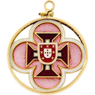 Vintage 14k Yellow Gold Portuguese Shield Plique A Jour Enamel Cross Pendant Portugal Pink Red
