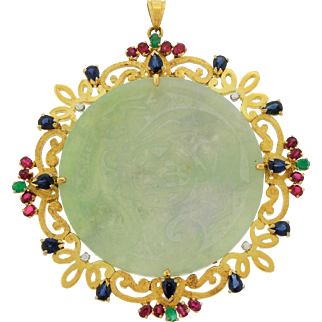 Vintage Large 14k Gold 585 Chinese Export Carved Jade Pendant 4.5TCW Diamonds Ruby Sapphire Emerald 46G