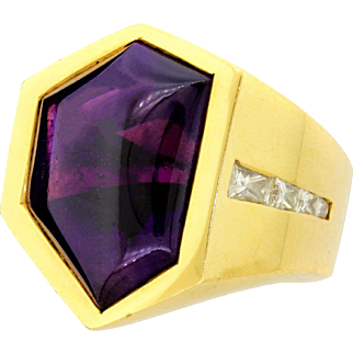 Vintage Men's  Heavy 18k Gold Amethyst Cabochon Diamond Baguette Pinky Ring Size 7 Modernist Magnificent!