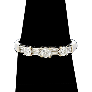 1/2 Carat TW 14K  White Gold Diamond Baguette And Round Ring Signed Size 7