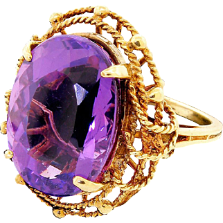 Vintage 10k Gold Large Oval Amethyst Cocktail Dinner Ring Size 5 Nautical Rope