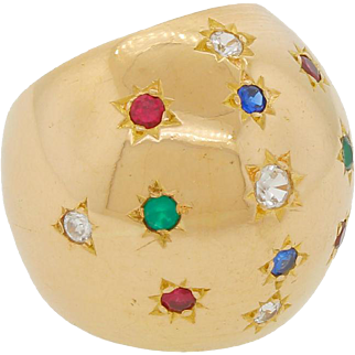 Vintage 18k 750 Gold Large Rainbow Star Dome Ring Size 5 Multi Colored Red Blue