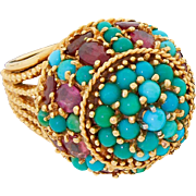 Vintage 14k Gold Persian Turquoise Amethyst Ring Large Heavy Dinner Cocktail 17 Grams Size 5.5