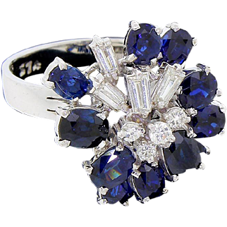 Striking Vintage 14k White Gold Baguette Diamond Sapphire Cocktail Dinner Ring Size 6.5