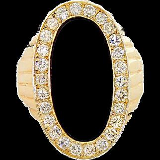 Vintage Classy Men's 14k Gold Large Onyx Diamond Ring Size 12 0.75 TCW Stunning!