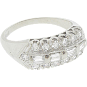 Beautiful 14k White Gold Diamond Baguette Cluster Ring Size 5.25