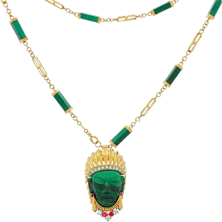 Vintage 18k 750 Gold Diamond Ruby Malachite Sioux Indian Chief Head Fur Clip Brooch With 14k 585 Necklace